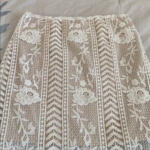 JOA lace midi skirt